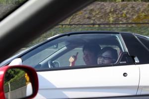 車の中で二人きりがとっても楽しそうなリーダー♪
