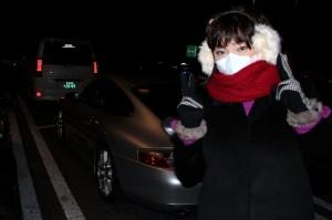 風邪をひいてるので完全防備。寒くないもん♪